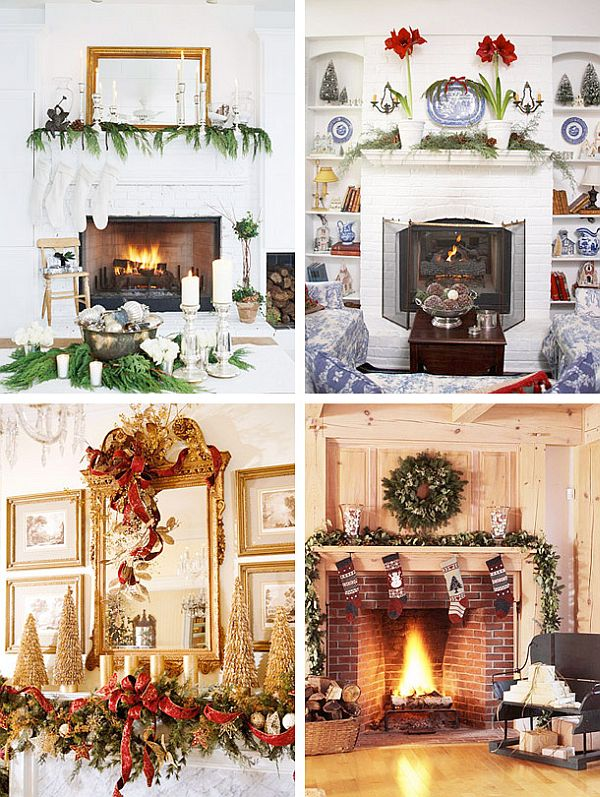 Great Fireplace Christmas Decorations On Decoration With Garland Decorating Ideas