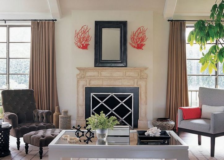 Fireplace Screens Living Room Coral Home Decor Accessories Accents Greige Gray Coffee Table Focal Point Design