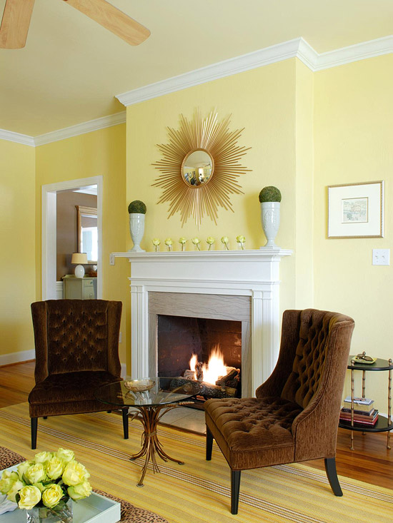 Creative Yellow Walls In Living Room On House Design Ideas With