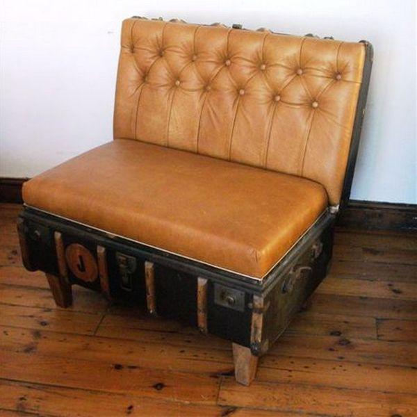 Leather Footstool Coffee Table