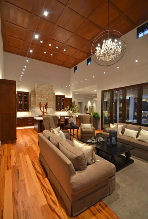 Wood Flooring Contemporary Living Room Kitchen Island Indoor Plants Bay Windows Couches Tigerwood Hardwood Floors
