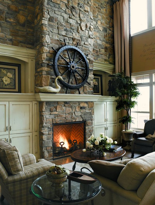 Give Your Fireplace A Fun Modern Makeover By Filling It With Painted Logs And Hang Vintage Educational Map Above Just Make Sure No One Tries To Burn