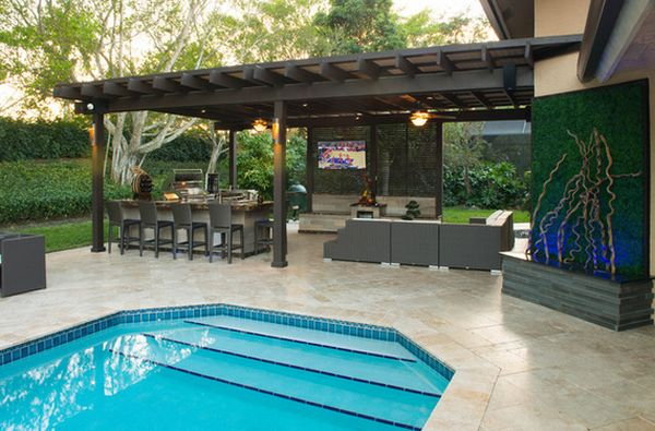 Outdoor Kitchen Designs Featuring Pizza Ovens, Fireplaces ... on Outdoor Kitchen With Pool Ideas id=50190