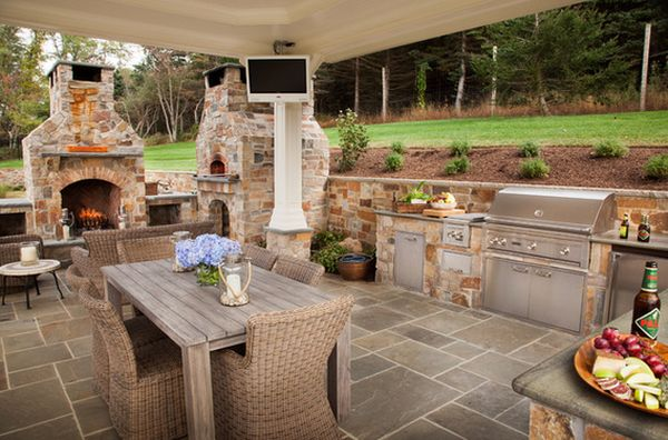Outdoor Kitchen Designs Featuring Pizza Ovens, Fireplaces ... on Covered Outdoor Kitchen With Fireplace id=16173