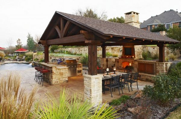 outdoor kitchen covered patio designs Outdoor Kitchen Designs Featuring Pizza Ovens, Fireplaces