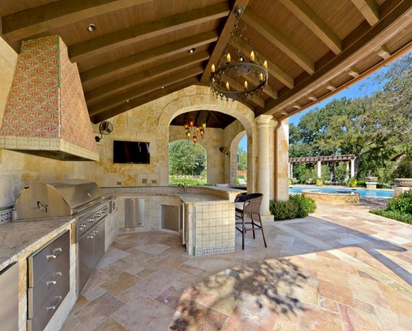 outdoor kitchen with pool and patio Outdoor Kitchen Designs Featuring Pizza Ovens, Fireplaces