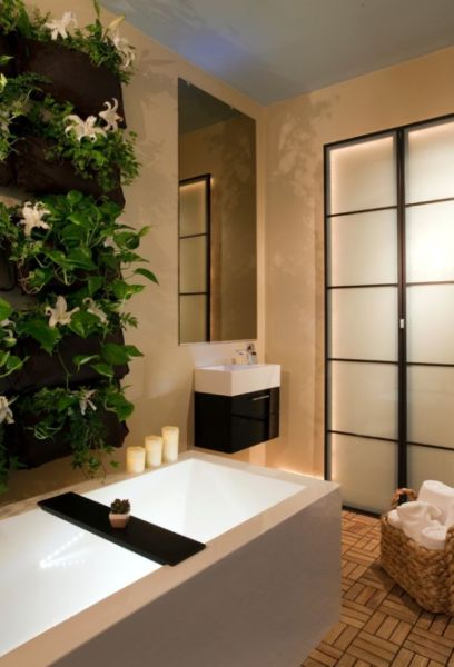 bathroom with vertical garden 20 Spa-Like Bathrooms To Clean Your Mind, Body And Spirit