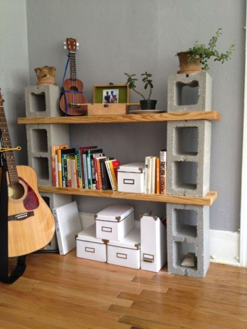 Cinder Blocks Shelf with Photo Boxes and Succulents Guitar and Hardwood Floors