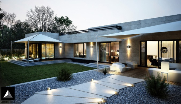 Forget The Traditional Look - Modern Front Yard ... on Concrete Front Yard Ideas id=16292
