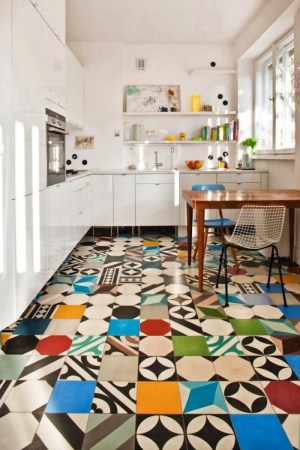 Patchwork Tiles   Mix And Match Your Favorite Colors For A     Eye catching kitchen floors