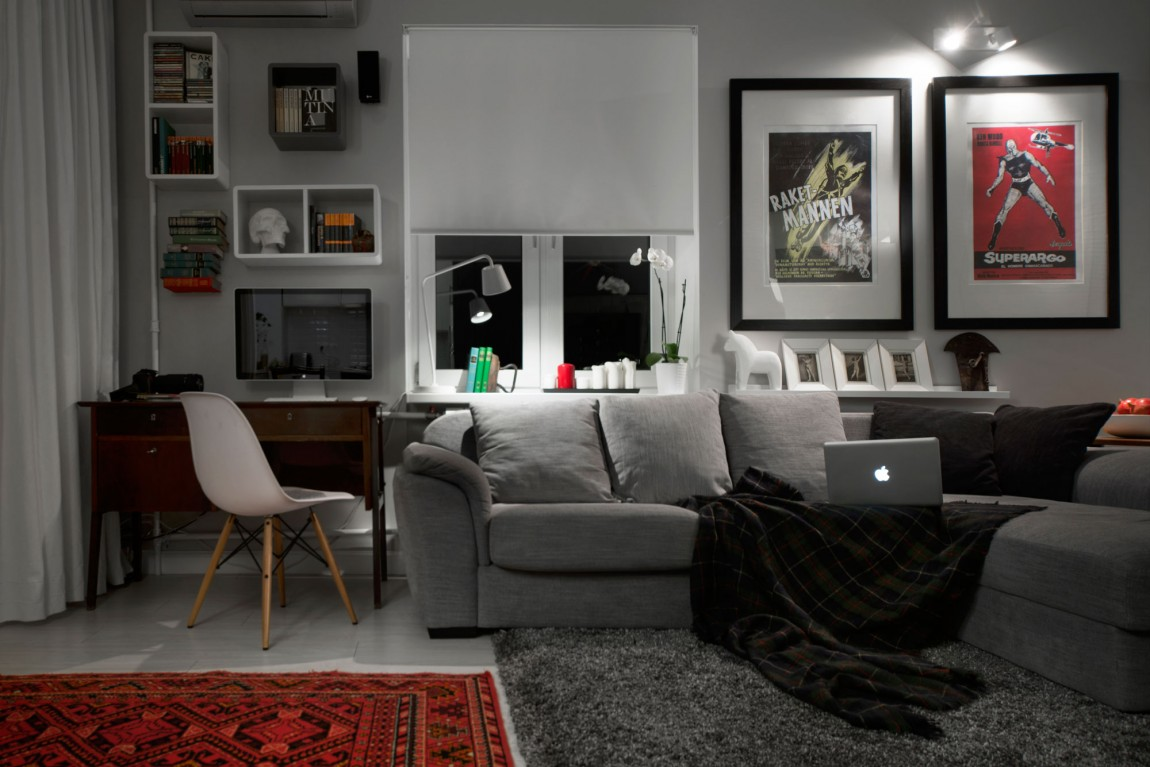Compact Bachelor Pad Captures All The Right Details In An ... on Small Room Decor Ideas For Guys  id=48452