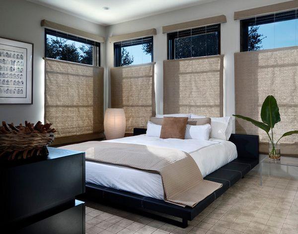 Travel Themed Decor Japanese Bedroom Window Shades Bed Indoor Plants Wall Art Minimalist Style