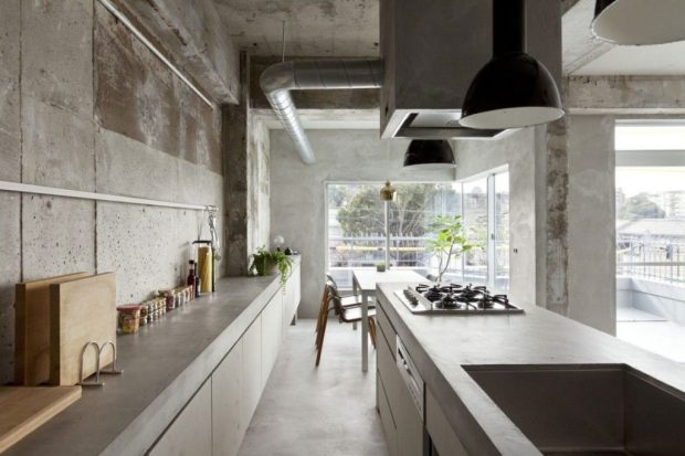 Decor Styles Japan Concrete Kitchen and Dining Room with Plants