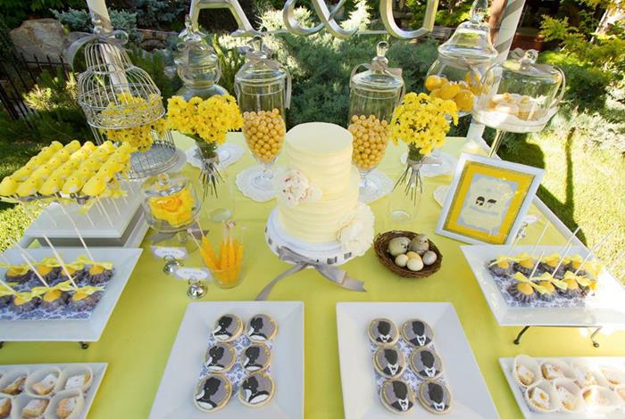 Yellow And Gray Baby Shower Centerpieces