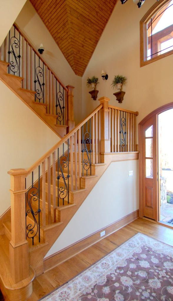 Rustic Lake Front House Wood And Wrought Iron Railings