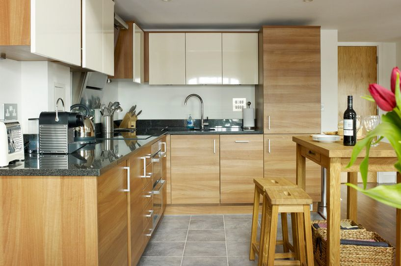 Two tone kitchen cabinets wood and white