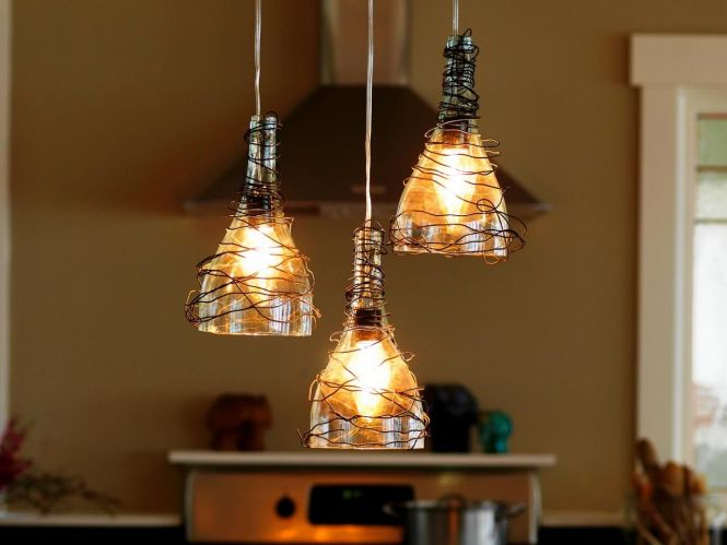 How To Make A Pendant Lighting Chandelier From Glass Bottles