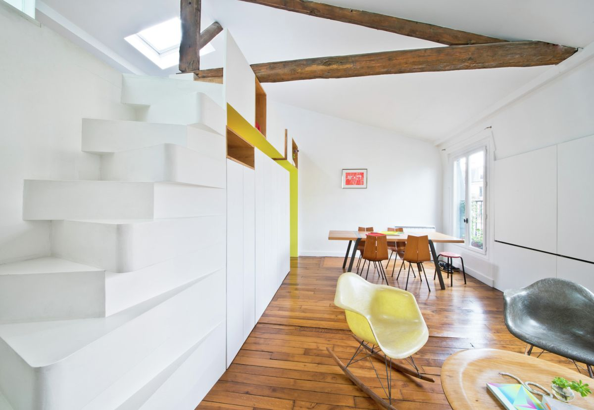 Redesigned Paris apartment alternate tread stairs