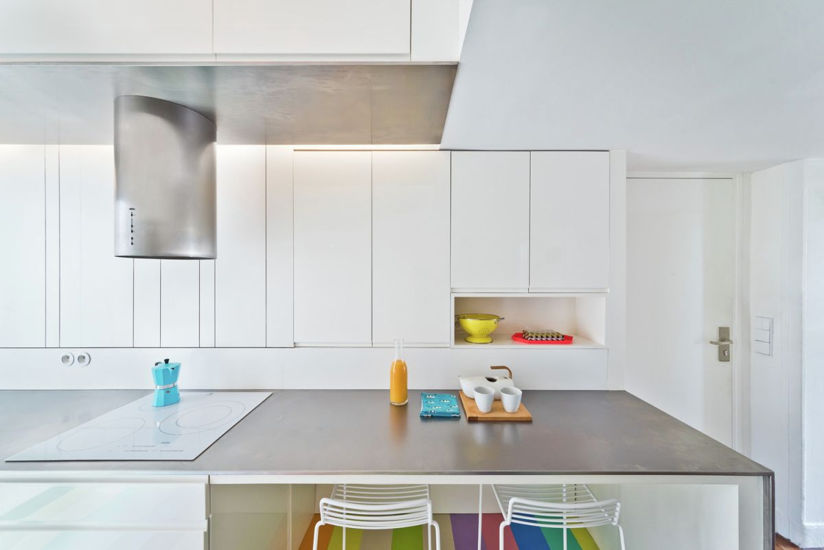Redesigned Paris apartment kitchen counter