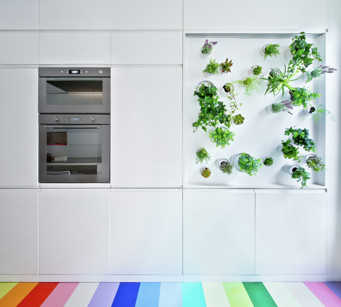 Redesigned Paris apartment kitchen herb garden