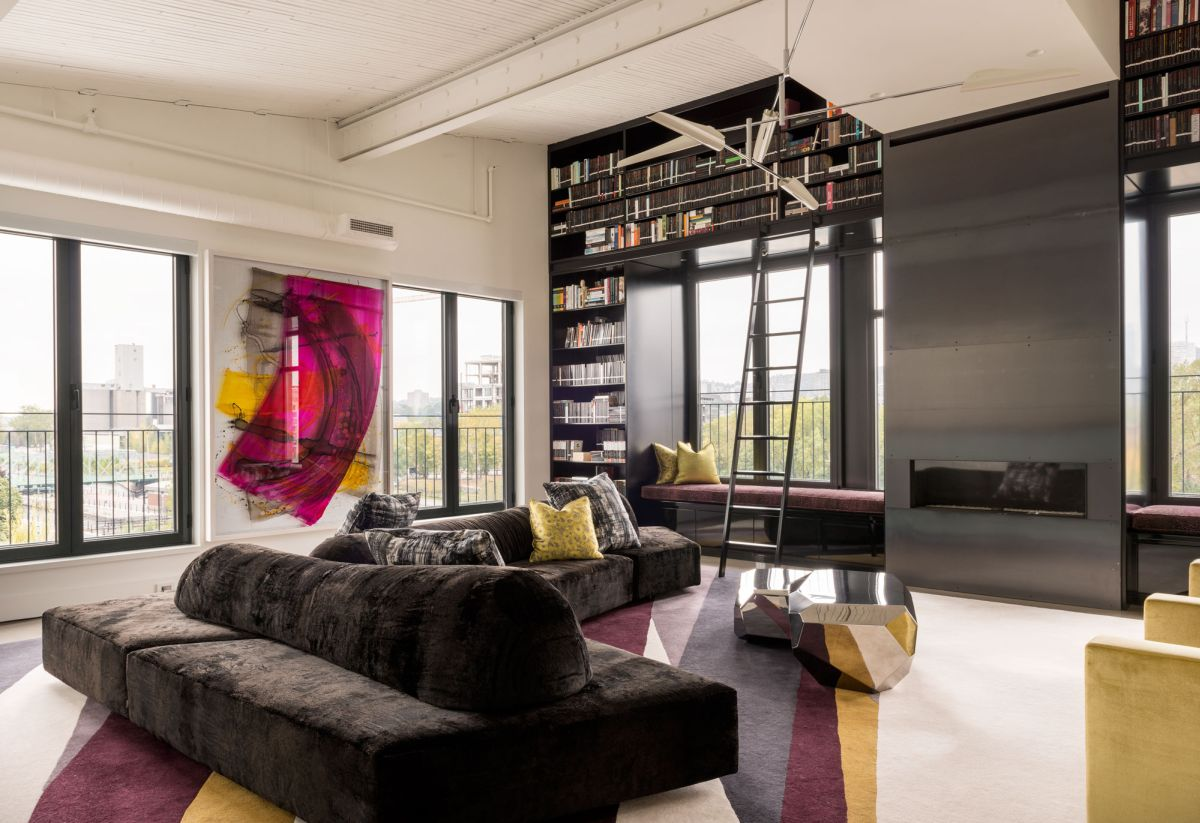 Redpath residence living area bookcase