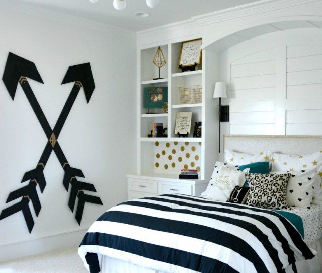Black White Gold Modern Teen Girl Bedroom With Stripped Bedding
