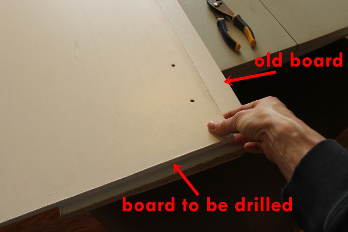 DIY Upgrade Bathroom Vanity- board to be drilled