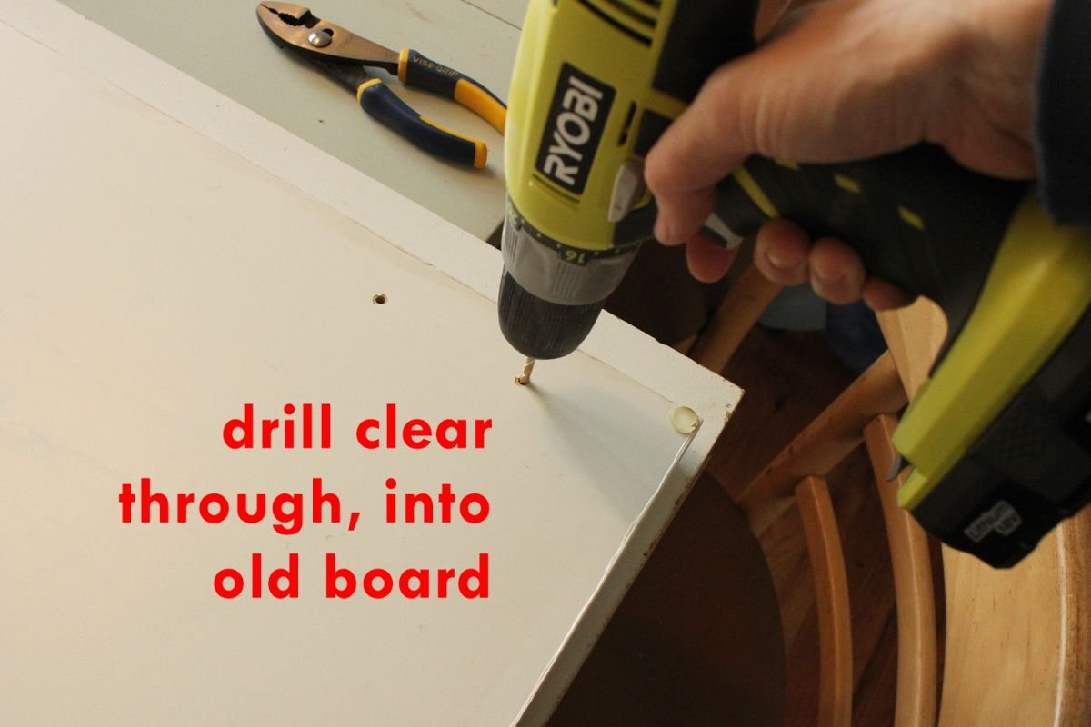 DIY Upgrade Bathroom Vanity- existent drawer hole