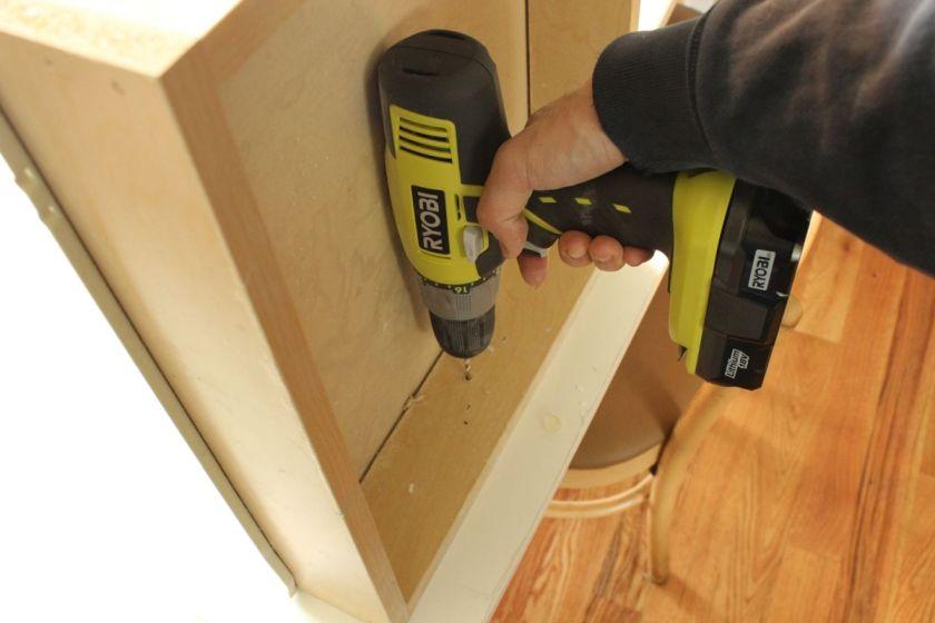 DIY Upgrade Bathroom Vanity- keeping drill