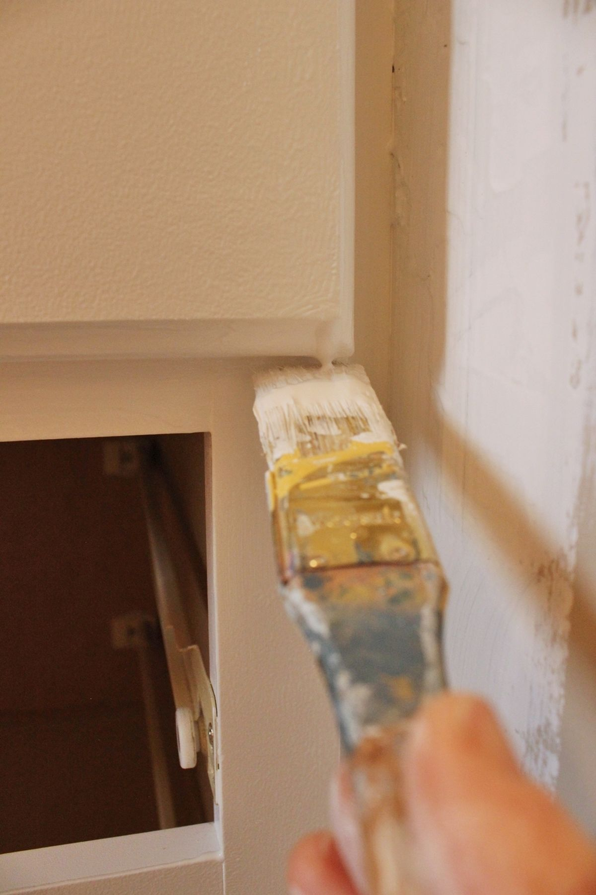DIY Upgrade Bathroom Vanity - painting sections