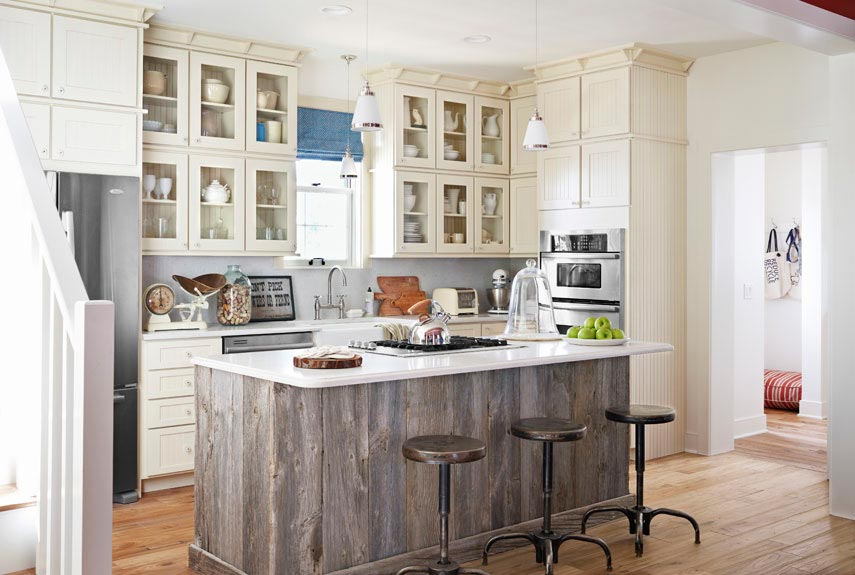 These 20 Stylish Kitchen Island Designs Will Have You Swooning  Reclaimed wood kitchen island design View in gallery