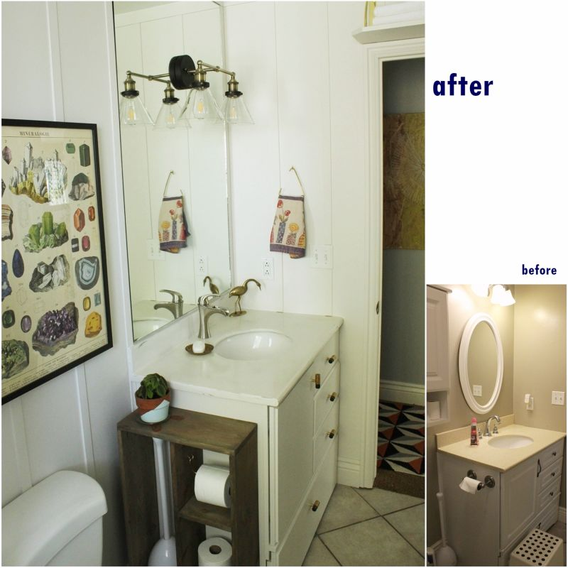 Before and after toilet vanity for paper