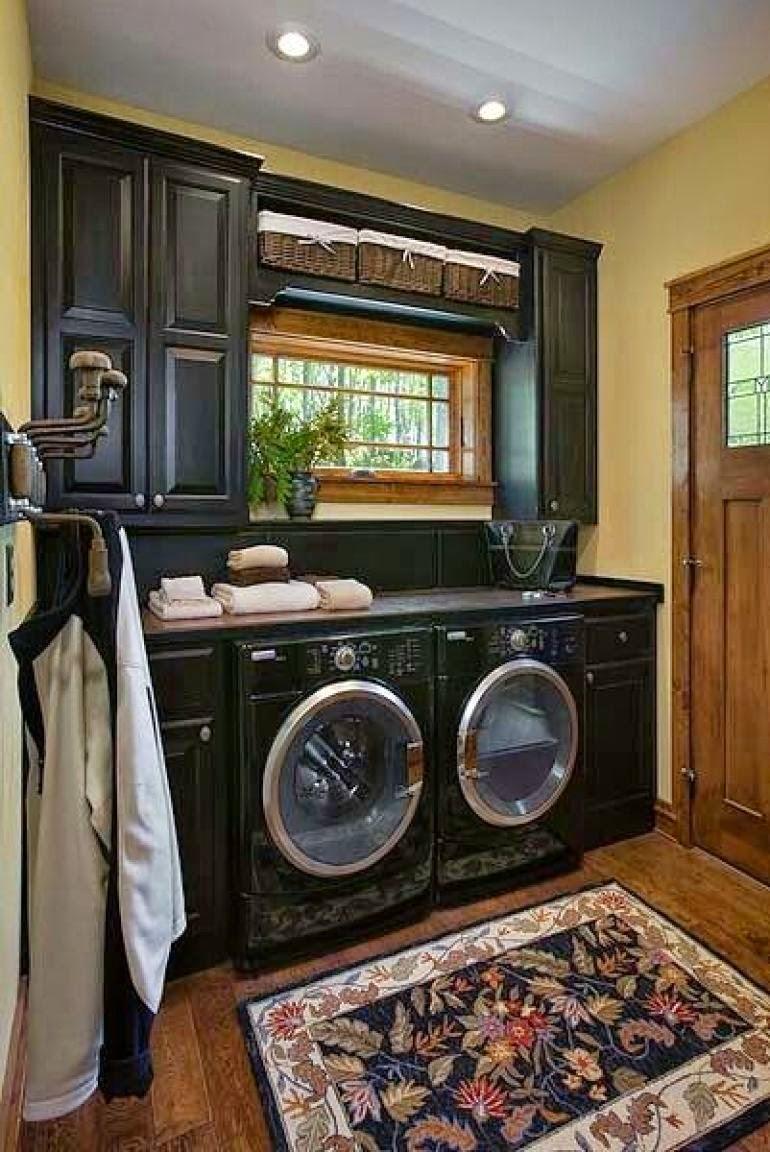 Black laundry room design