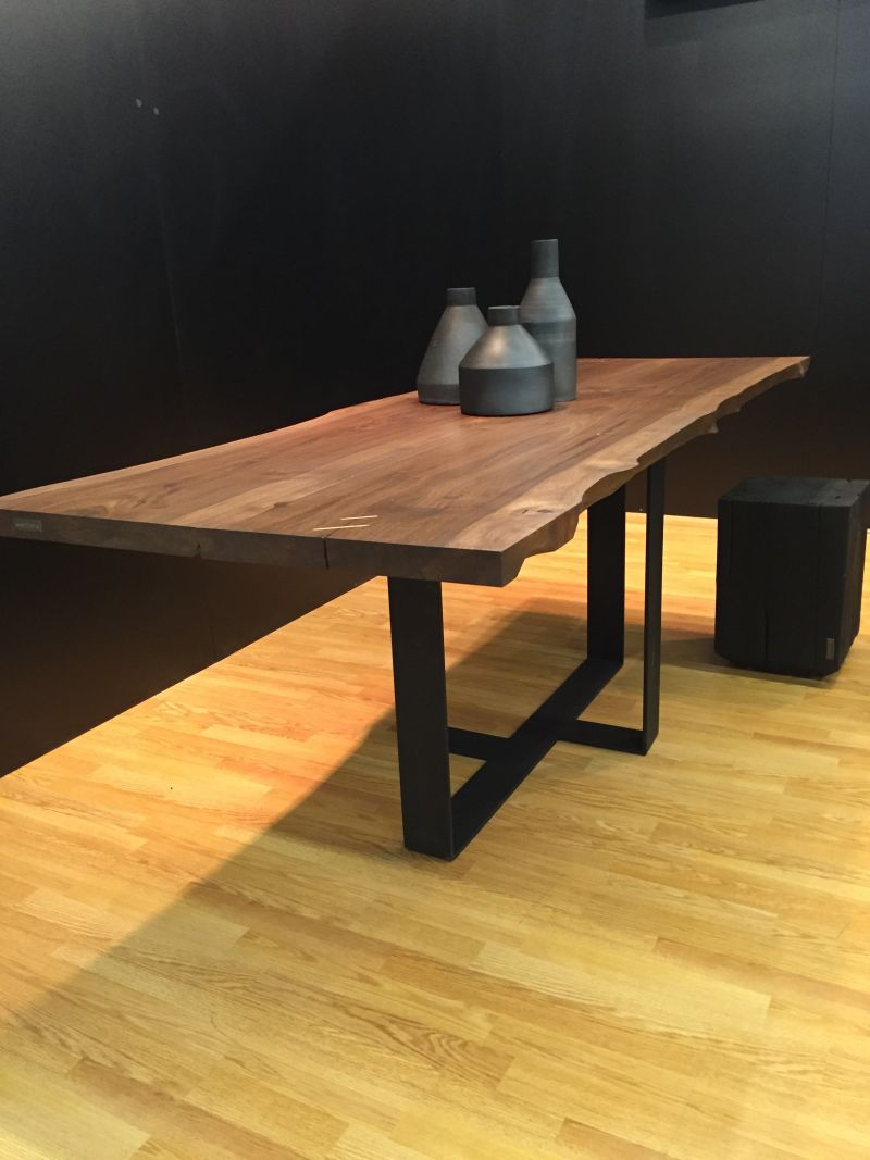 Black steel base and unfinished wood top