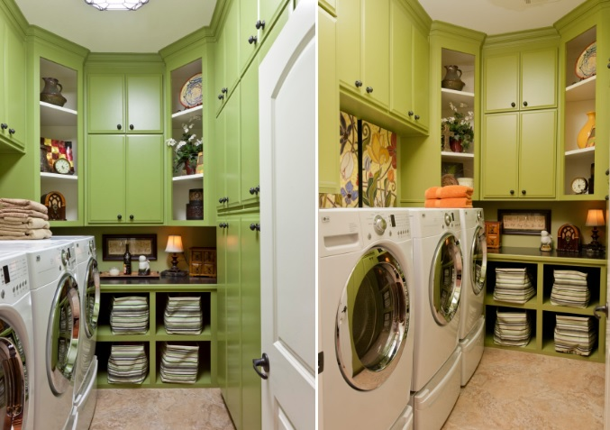 Lime laundry room design