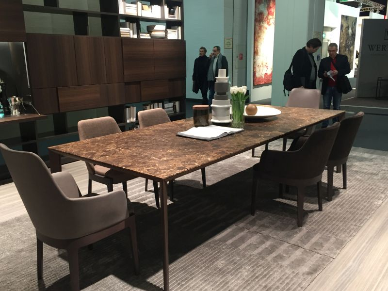 Rectangular marble dining table for large families