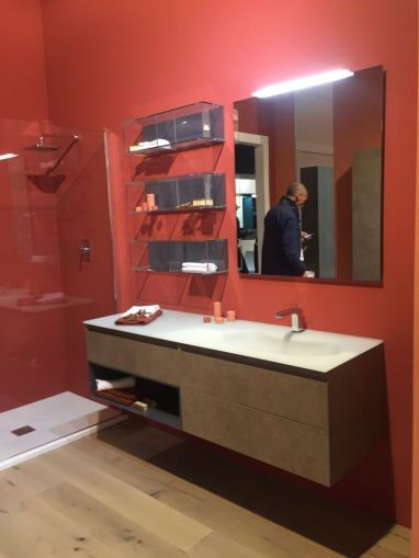 Equally Functional and Stylish Bathroom Storage Ideas Red bathroom wall and floating vanity