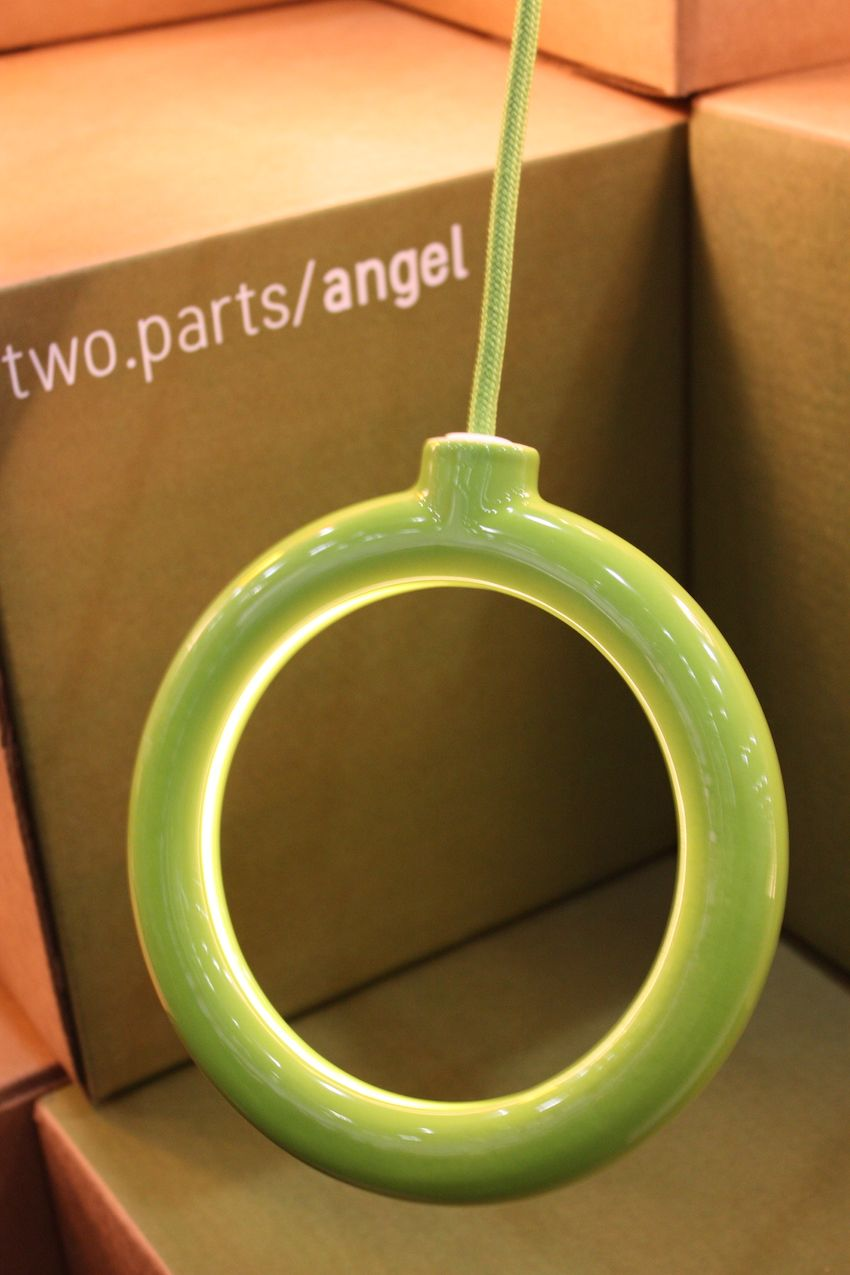 The Angel 3-D printed pendant is like a halo hat rack.