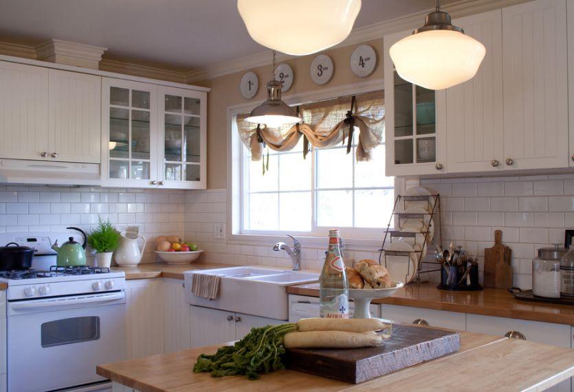 Burlap kitchen curtain