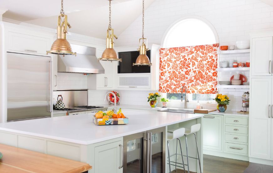 Colorful floral kitchen curtain