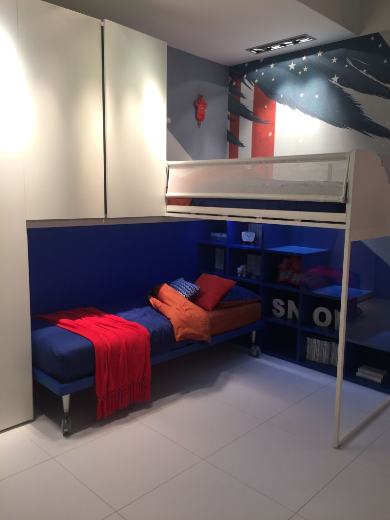 Corner blue bunk beds with stairs storage