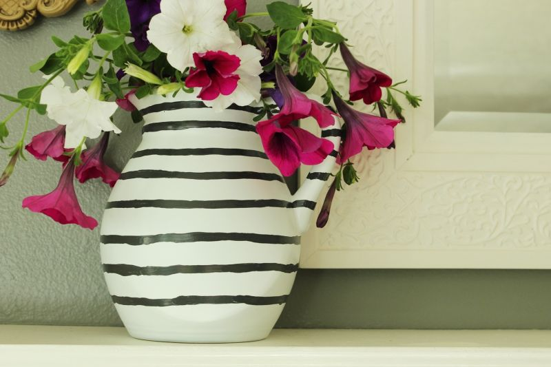 DIY Hand Painted Striped Vase Craft