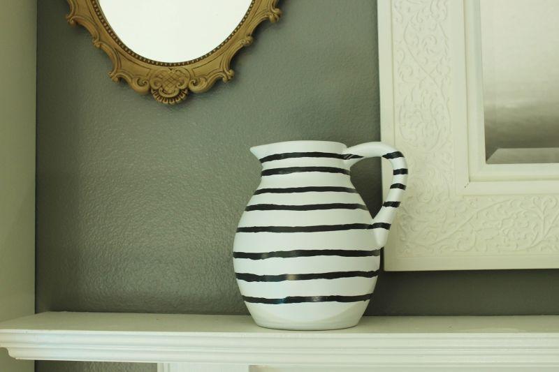 DIY Hand Painted Striped Vase-display