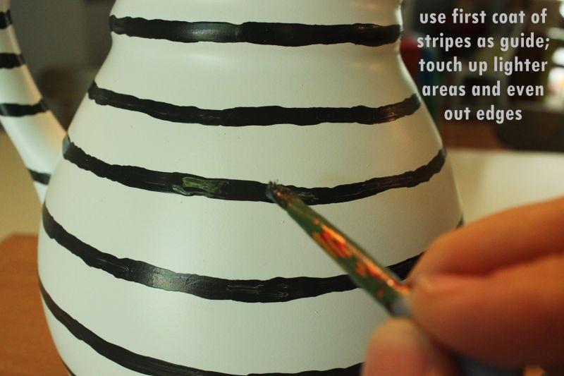 DIY Hand Painted Striped Vase-finish