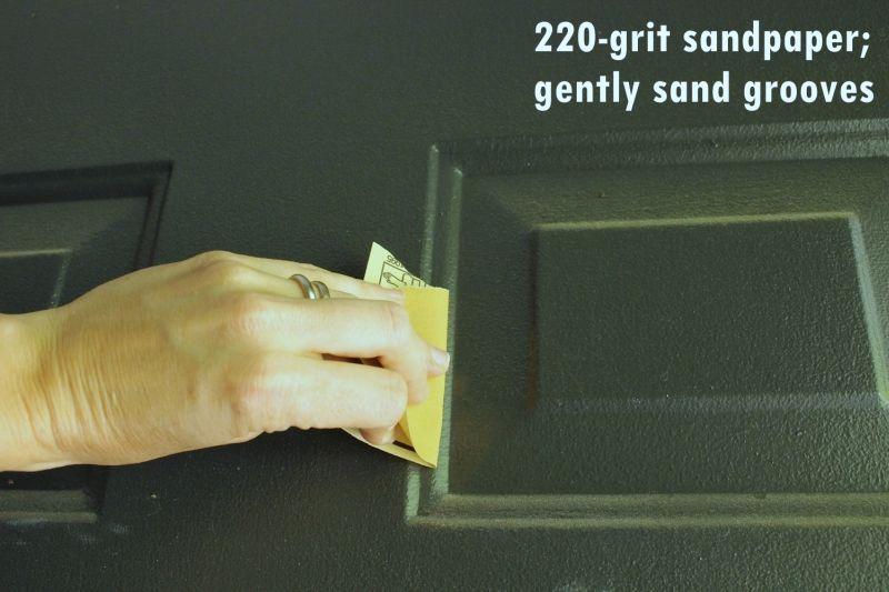 DIY Paint Front Door-sandpaper process