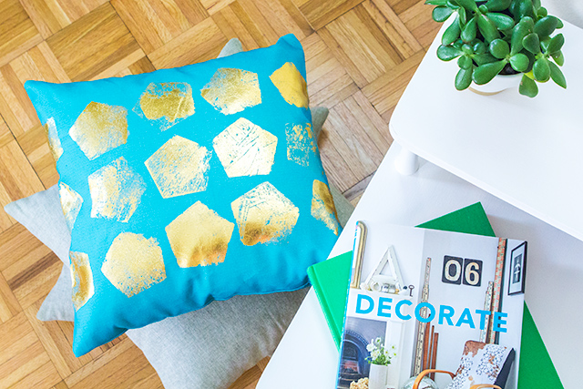 DIY pillow cover with gold foil