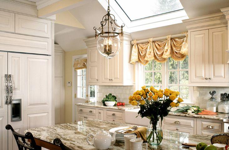 Golden kitchen curtain for window