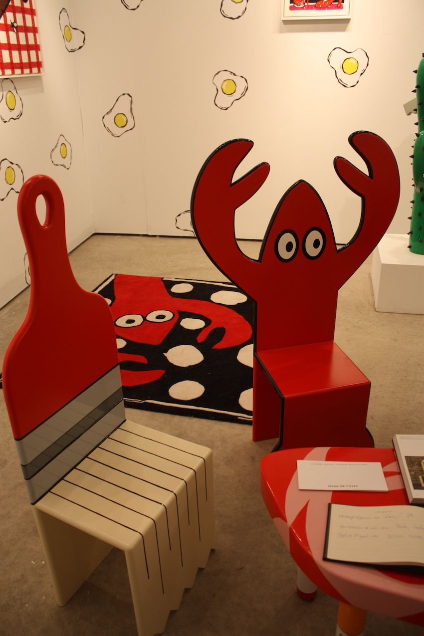 Lobster and paintbrush chairs