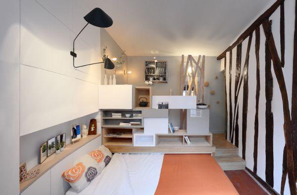 Mini 12sqm studio apartment design sliding bed