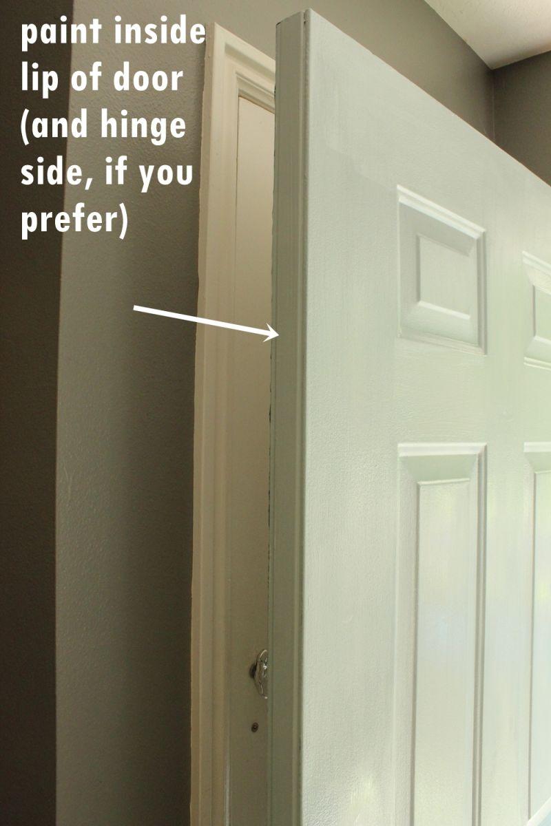 Paint inside lip of door